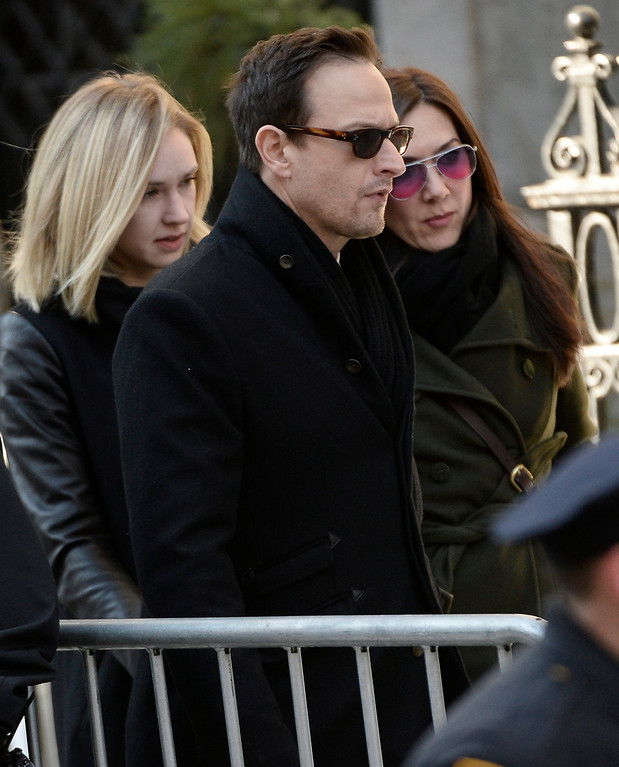 . US Actor Josh Charles (C) arrives for the Funeral Mass for US Actor Phillip Seymour Hoffman at St Ignatius Church in New York, New York, USA 07 February 2014. Hoffman, 46, died 02 February from a suspected drug overdose.  EPA/ANDREW GOMBERT