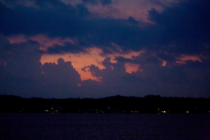 Night falls as we leave Holland, headed toward Mackinac, by way of Beaver Island.