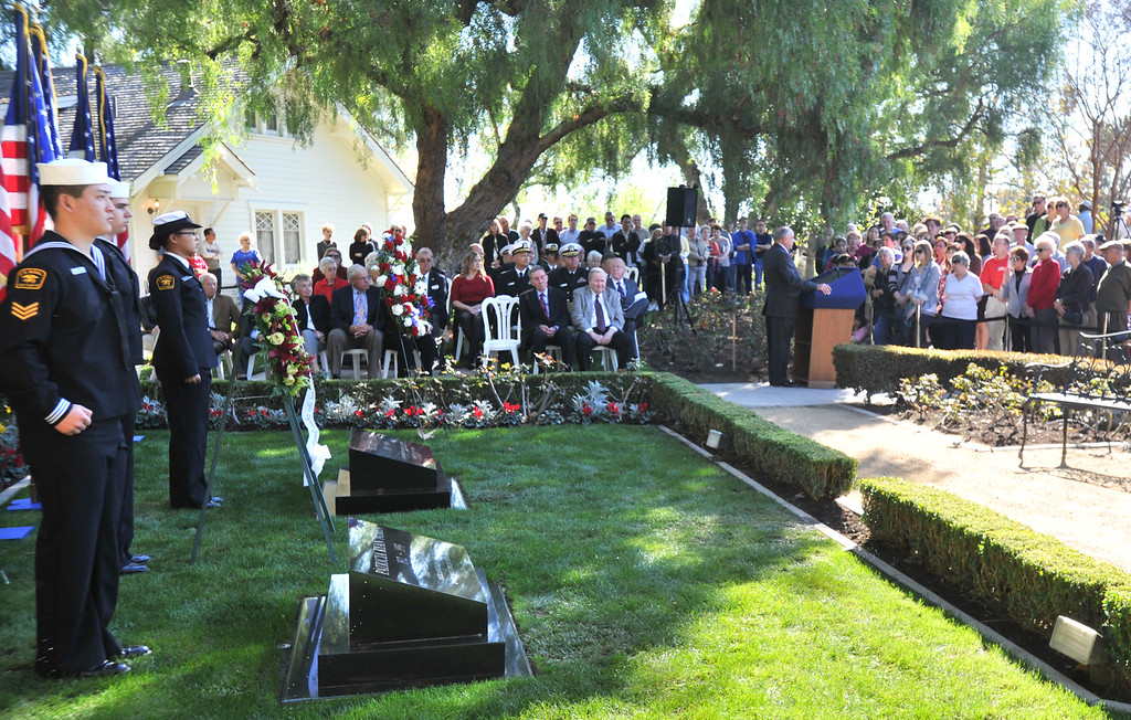 . A wreath is laid at the gravesite of former President Richard Nixon in honor of his 99th birthday during a wreath-laying ceremony at the Richard Nixon Presidential Library in Yorba Linda on Monday January 9, 2012. The Richard Nixon Foundation hosts a formal ceremony of the laying of the White House Wreath from President Barack Obama by Admiral Mike Shatynski, of Whittier, along with President Nixon�s younger brother Ed Nixon and Colonel Jack Brennan, Marine Aide to the 37th President. (SGVN/Staff photo Keith Durflinger/SWCITY)