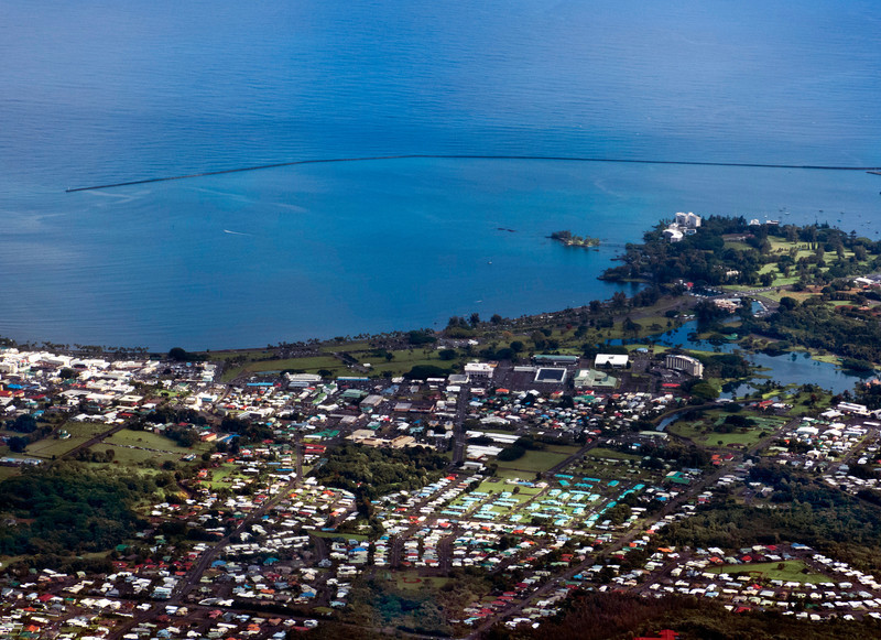 The town of Hilo on the wet side of the Big Island.