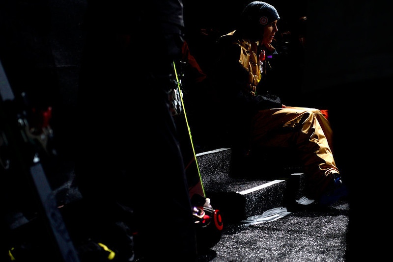 . ASPEN, CO. - JANUARY 24: Roz Groenewoud warms up behind the deck during warmup for the women\'s ski superpipe final. X Games Aspen Buettermilk Mountain Aspen January 25, 2013 (Photo By AAron Ontiveroz / The Denver Post)