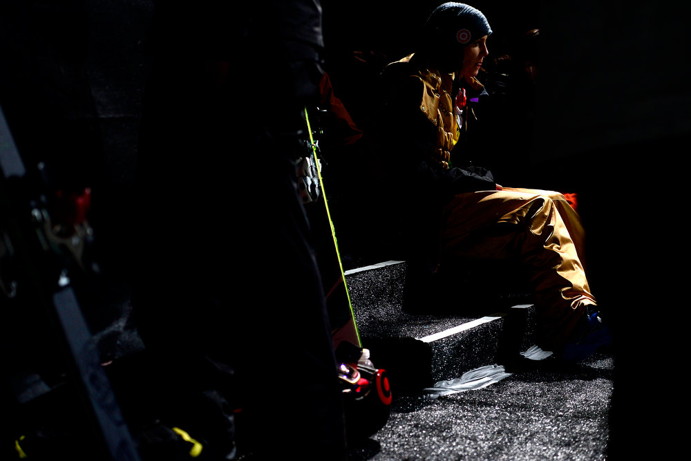Description of . ASPEN, CO. - JANUARY 24: Roz Groenewoud warms up behind the deck during warmup for the women's ski superpipe final. X Games Aspen Buettermilk Mountain Aspen January 25, 2013 (Photo By AAron Ontiveroz / The Denver Post)