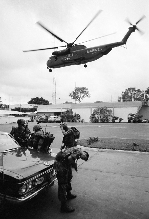 . The helicopter zone at the U.S. Embassy in Saigon, Vietnam, on April 29, 1975, showing last minute evacuation of authorized personnel and civilians. (AP Photo)