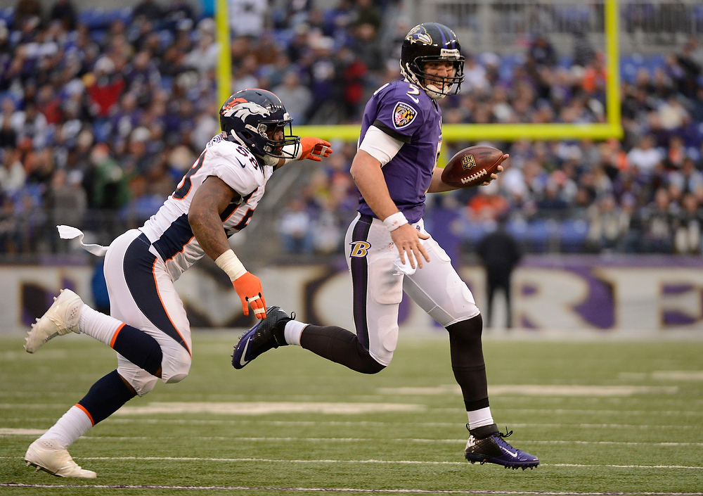 Description of . Baltimore Ravens quarterback Joe Flacco (5) gets chesed by Denver Broncos outside linebacker Von Miller (58) during the fourth quarter Sunday, December 16, 2012 at M&T Bank Stadium. John Leyba, The Denver Post