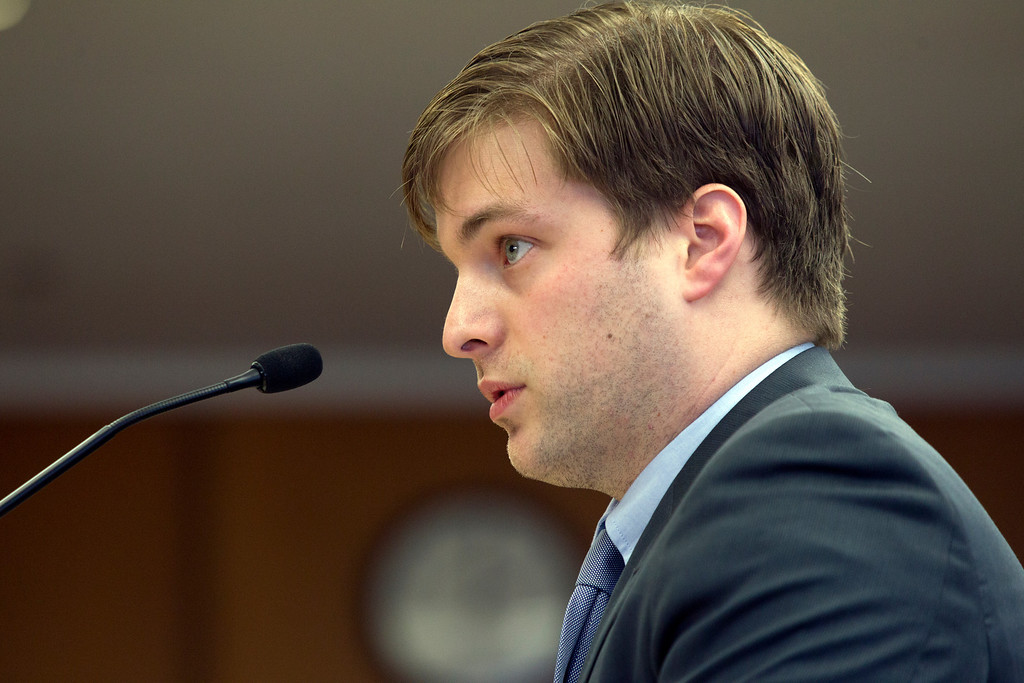 . Trevor Timm of the Electronic Frontier Foundation speaks out against the Alameda County Sheriff\'s plan to acquire a drone for aerial enforcement, during a hearing Thursday, Feb. 14, 2013 at the Alameda County Administration Building in Oakland, Calif. (D. Ross Cameron/Staff)