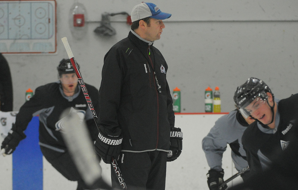 . Colorado Avalanche head coach Joe Sacco looks on during practice as the Avalanche return to the ice Sunday, January 13, 2013 at Family Sports Center. John Leyba, The Denver Post