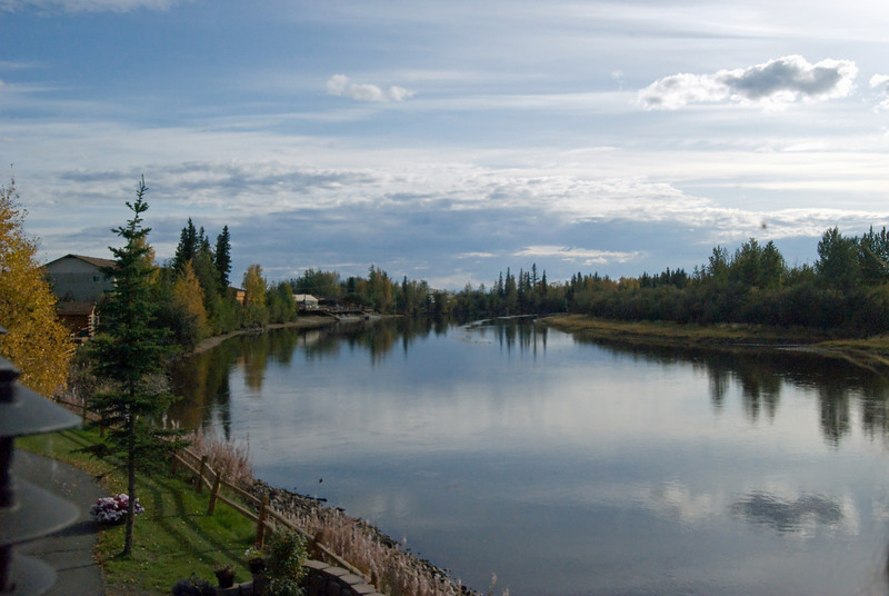 View from the back deck of the Princess Lodge in Fairbanks