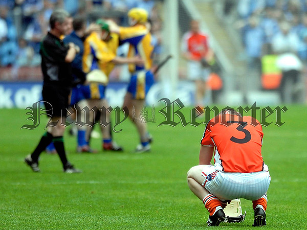 Nicky Rackard Cup Final Armagh V Roscommon. Armaghs Eugene McDonnell watches as Roscommon celebrate winning the Nicky Rackard Cup at Croke Park on Saturday. 07W33N261