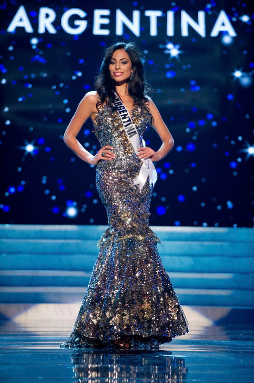 . Miss Argentina 2012 Camila Solorzano competes in an evening gown of her choiceduring the Evening Gown Competition of the 2012 Miss Universe Presentation Show in Las Vegas, Nevada, December 13, 2012. The Miss Universe 2012 pageant will be held on December 19 at the Planet Hollywood Resort and Casino in Las Vegas. REUTERS/Darren Decker/Miss Universe Organization L.P/Handout