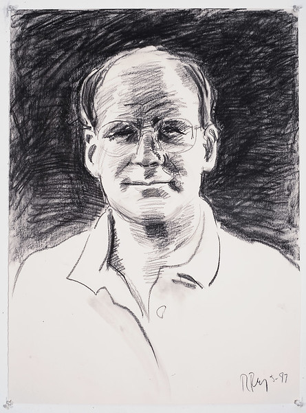 Portrait study - Tom S (light); charcoal, 22 x 30 in, 1998