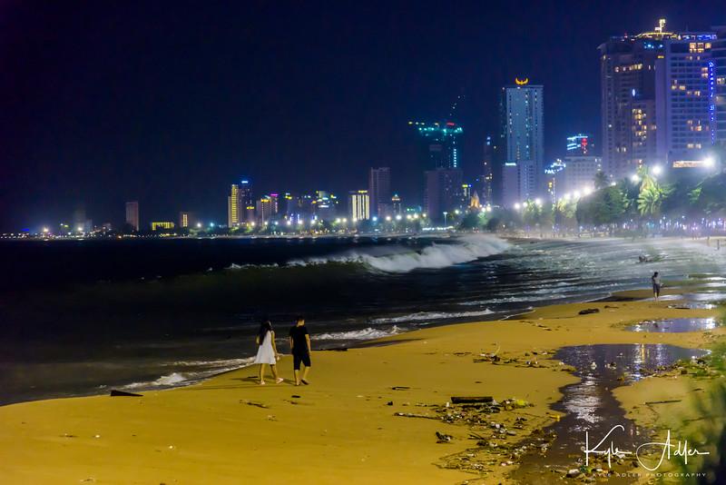 Nighttime on Nha Trang's beach.