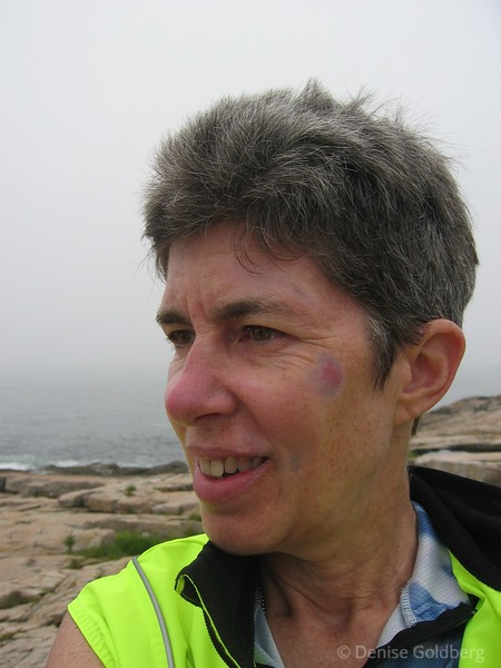 Another view during my June 2005 bike tour in Downeast Maine - this time standing near the tip of the Schoodic Penninsula. Yup, you can still see some bruises, enough that 3 people (all in the hospitality industry) asked me about them while I was traveling. (June 27, 2005)