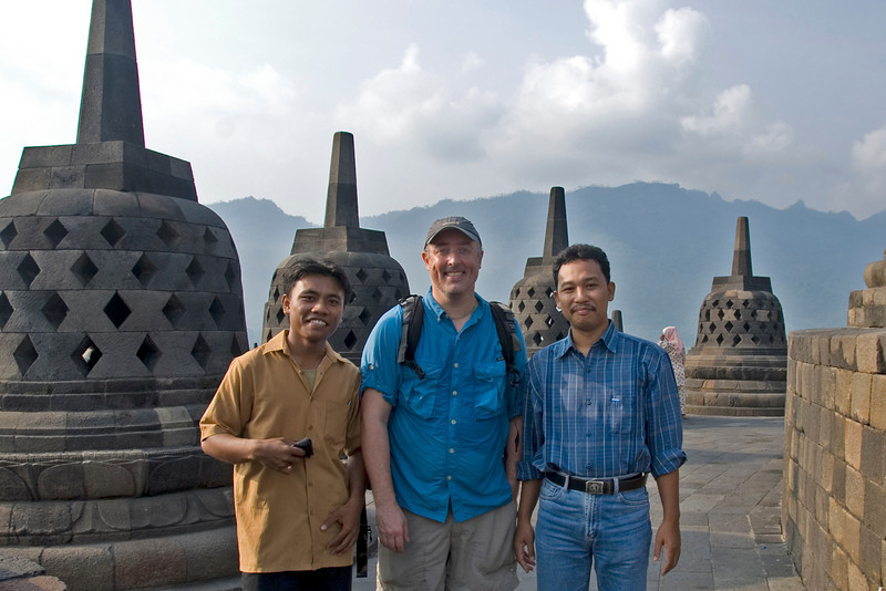 Posing with the teachers close to the stupas in Borobudur in Java, Indonesia