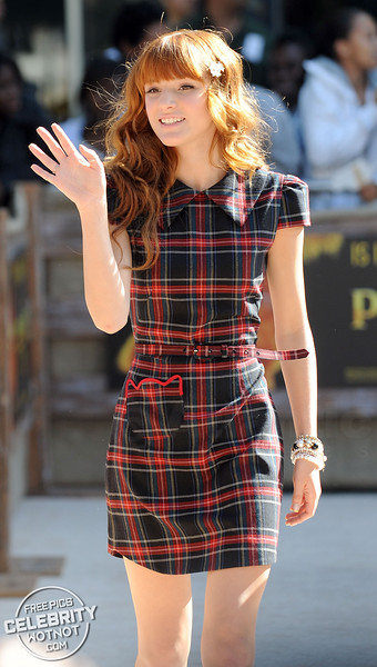 Bella Thorne In A Tartan-Inspired Checked Dress In Los Angeles, CA