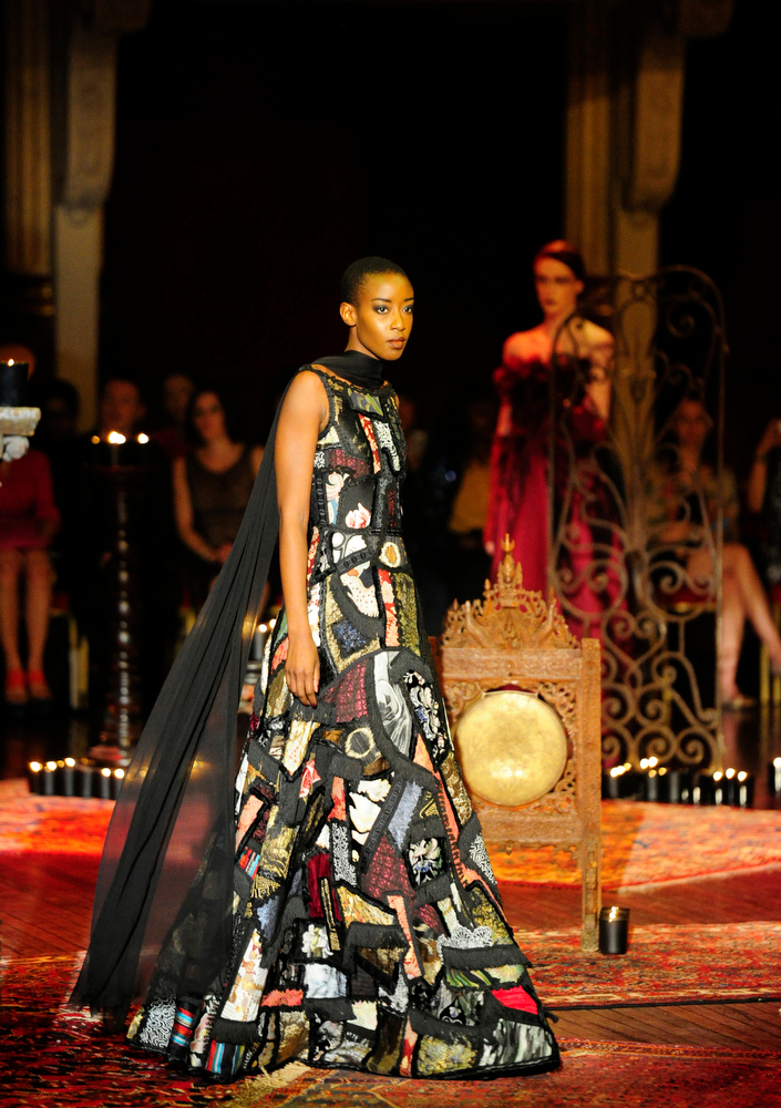. A model wears a creation for Frank Sorbier\'s  fall-winter 2014-2015 Haute Couture fashion collection in Paris, France, Wednesday, July 9, 2014. (AP Photo/Zacharie Scheurer)