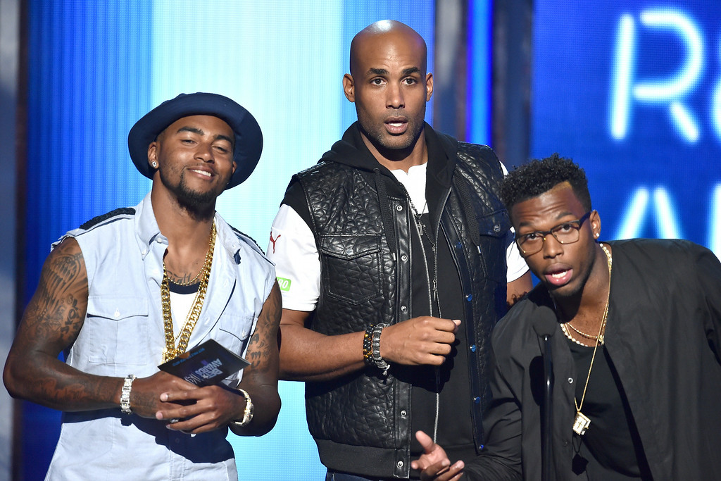 . LOS ANGELES, CA - JUNE 29:  (L-R) Football player DeSean Jackson, actor Boris Kodjoe, and soccer player Daniel Sturridge speak onstage during the BET AWARDS \'14 at Nokia Theatre L.A. LIVE on June 29, 2014 in Los Angeles, California.  (Photo by Kevin Winter/Getty Images for BET)