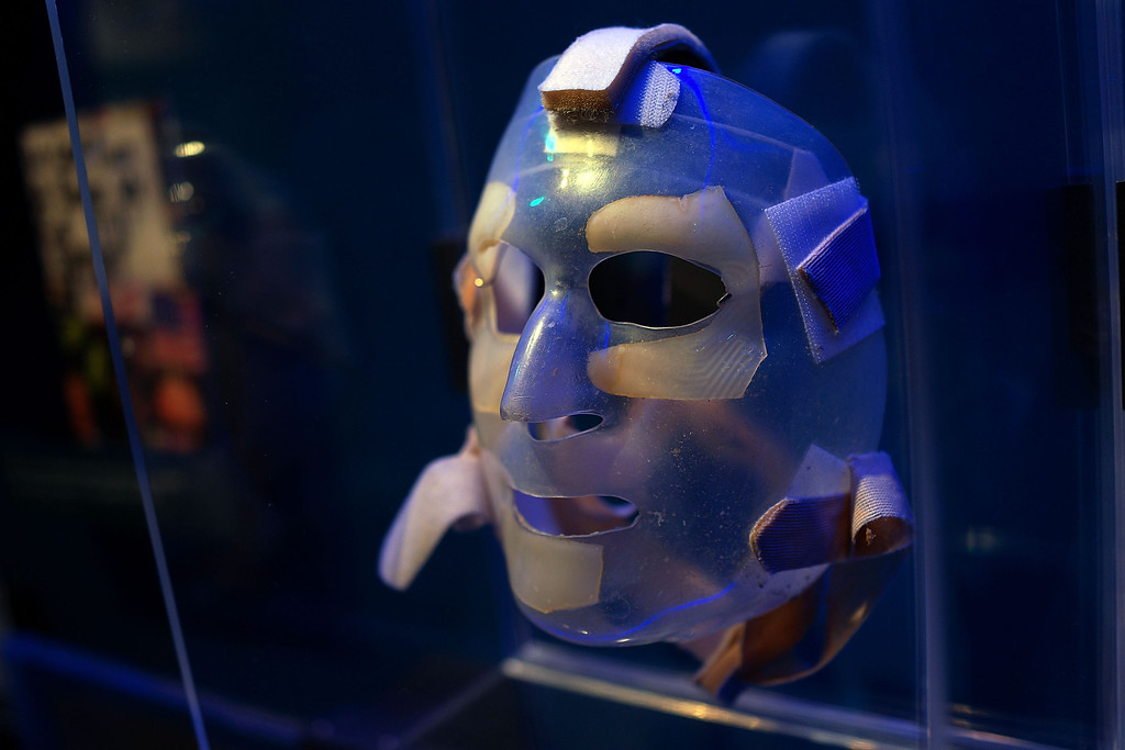 . A recovery mask used by a burn victim from the attacks on September 11 is viewed during a tour of the National September 11 Memorial Museum on May 14, 2014 in New York City. (Photo by Spencer Platt/Getty Images)