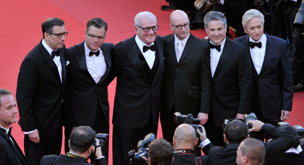 . Screenwriter Richard LaGravenese, actor Matt Damon, producer Jerry Weintraub,  director Steven Soderbergh, writer Greg Jacobs and actor Michael Douglas attend the \'Behind The Candelabra\' premiere during The 66th Annual Cannes Film Festival at Theatre Lumiere on May 21, 2013 in Cannes, France.  (Photo by Gareth Cattermole/Getty Images)