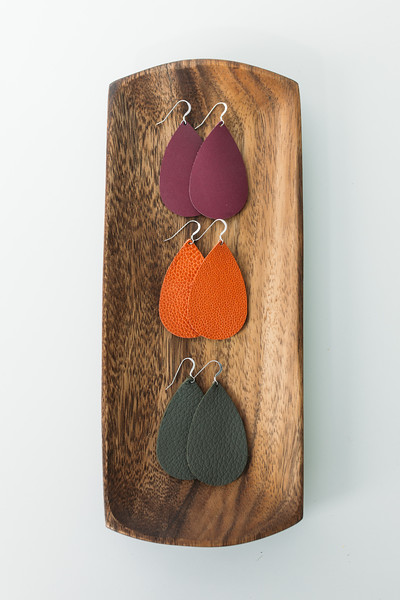 Leather B Earrings