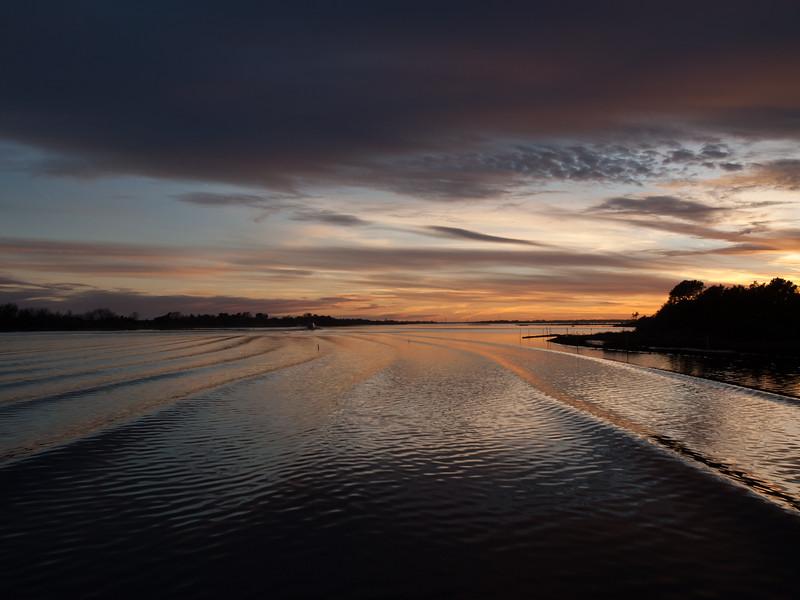 Sunset on boat wake