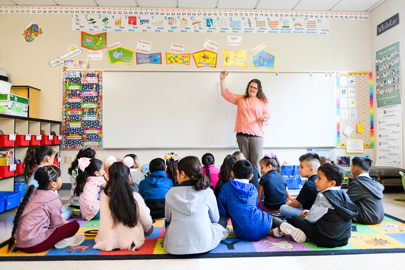 Teacher Amanda Whitaker starts the day with her class. Back to school day at Hallman Elementary School on Wednesday, September 4, 2019 in Salem, Ore.