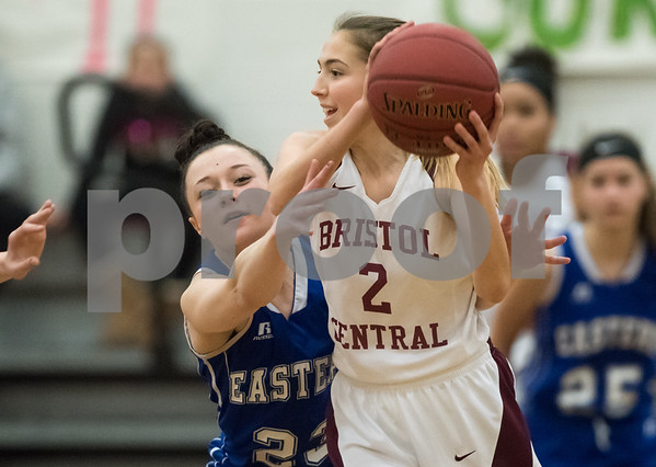 02/12/18 Wesley Bunnell | Staff Bristol Central vs Bristol Eastern on Senior Night at Bristol Central High School. Bristol Eastern's Cheyenne Sargent (23) vs Central's Allison Jessie (2).
