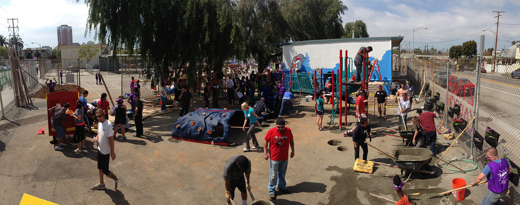 . LONG BEACH, CALIF. USA -- Volunteers during a one-day playground build at Edison Elementary School in Long Beach, Calif., on April 6, 2013.  More than 200 volunteers from the Long Beach Unified School District, Green Long Beach! and Zynga, joined organizers from KaBOOM! and residents to build a new playground at the Edison Child Development Center.  The playground is the fourth built by KaBOOM! and Zynga.org and is one of more than 150 playground builds KaBOOM! will lead across the country in 2013 in an effort to fulfill its vision of a great place to play within walking distance of every child in America. Photo by Jeff Gritchen / Los Angeles Newspaper Group