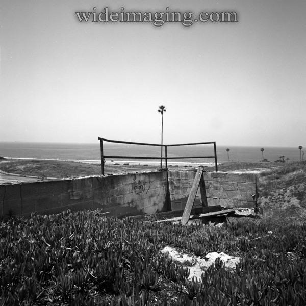 Playa Del Rey, Ghost Town. Remains of a backyard retaining wall overlooks Rindge Ave and Palace Street.
