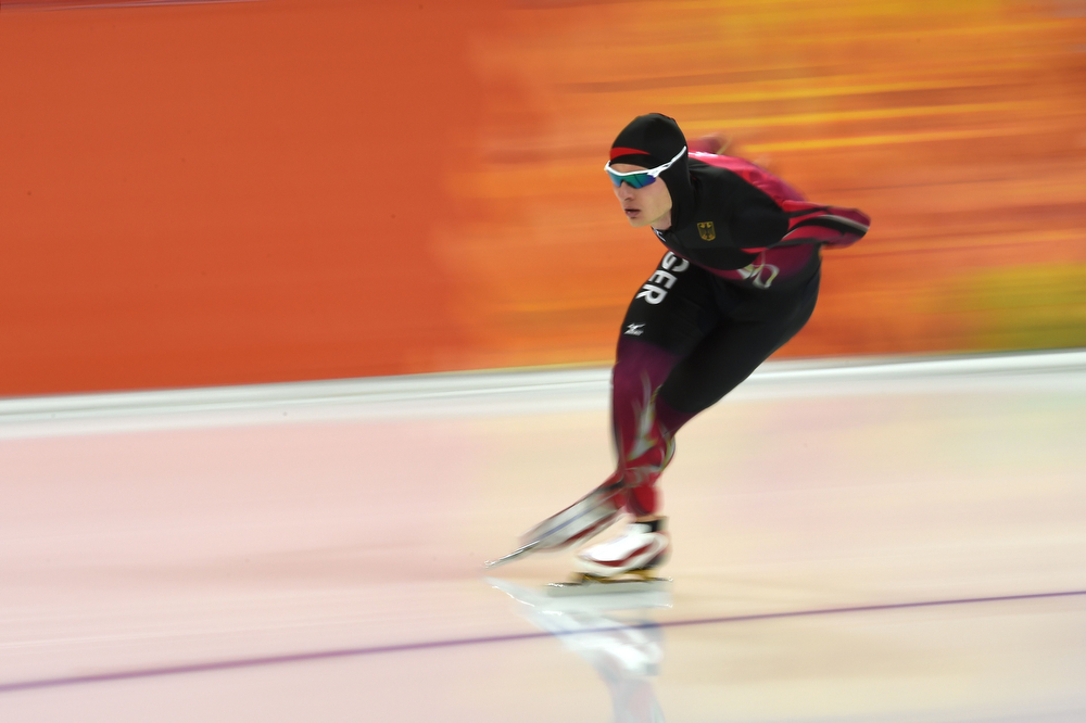 . Germany\'s Patrick Beckert competes in the Men\'s Speed Skating 10000 m at the Adler Arena during the Sochi Winter Olympics on February 18, 2014.  (DAMIEN MEYER/AFP/Getty Images)