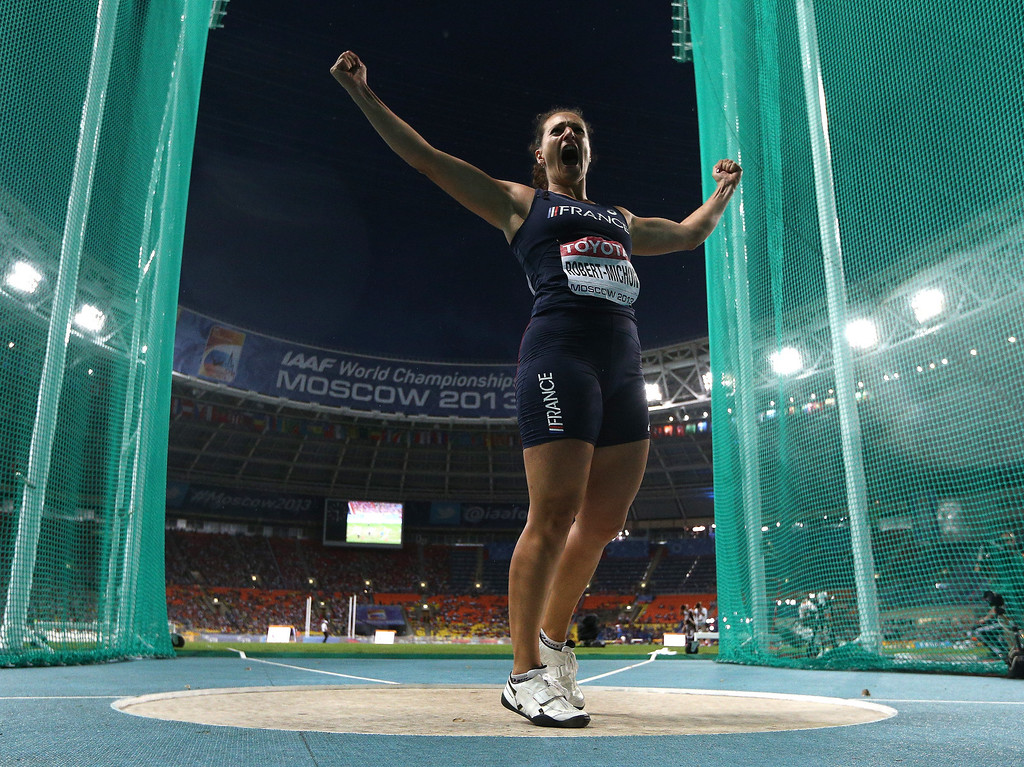 . Melina Robert-Michon of France celebrates an attepmt in the Women\'s Discus final during Day Two of the 14th IAAF World Athletics Championships Moscow 2013 at Luzhniki Stadium on August 11, 2013 in Moscow, Russia.  (Photo by Cameron Spencer/Getty Images)