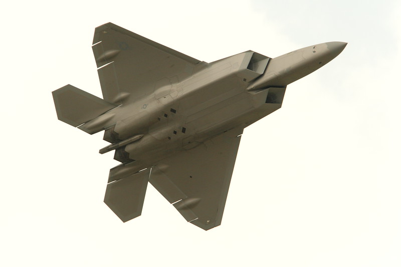 F-22 Raptor in flight, Hampton, VA. © 2007 Kenneth R. Sheide