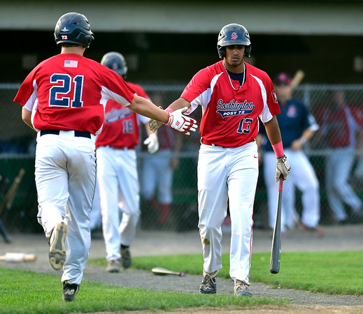 7/31/2019 Mike Orazzi | Staff Southington's Kyle Leifert (21) and Aneesh Avancha (13) during Tuesday evenings American Legion Baseball game with Waterford in South Windsor.