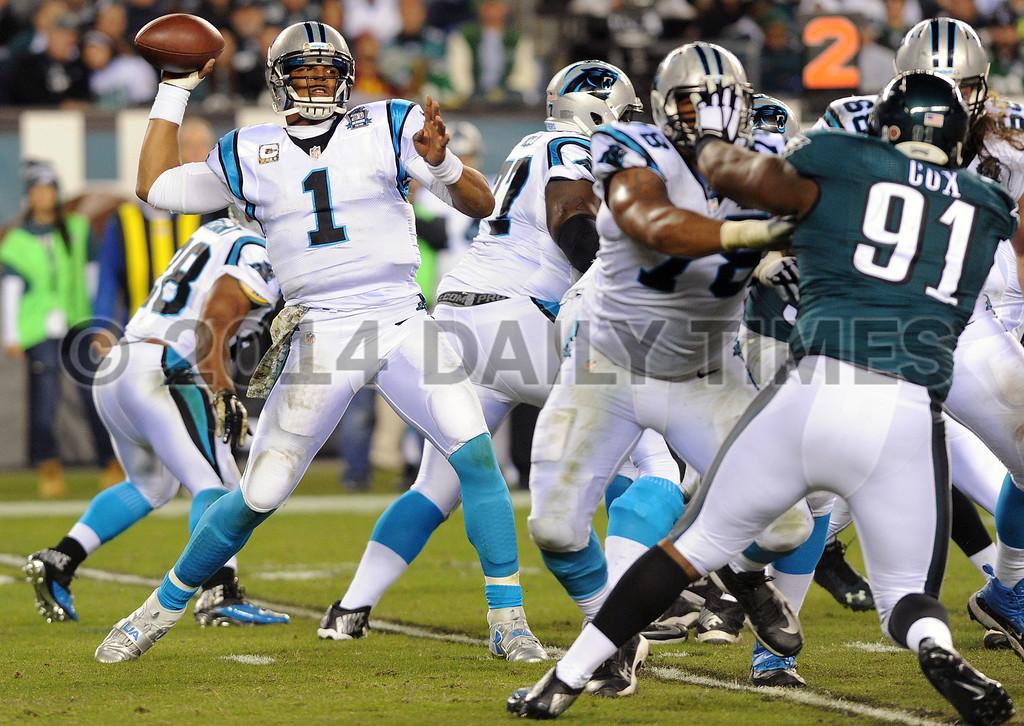 . TOM KELLY IV � DAILY TIMES Carolina Panthers vs Philadelphia Eagles, Monday night football game, November 10, 2014 at Lincoln Financial Field.