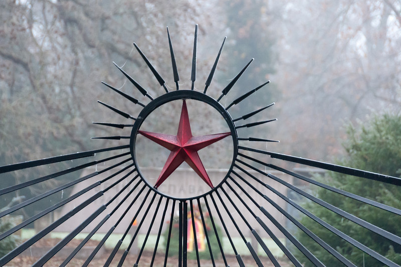 Communist red star emblem on cemetery gate - Weimar, Germany