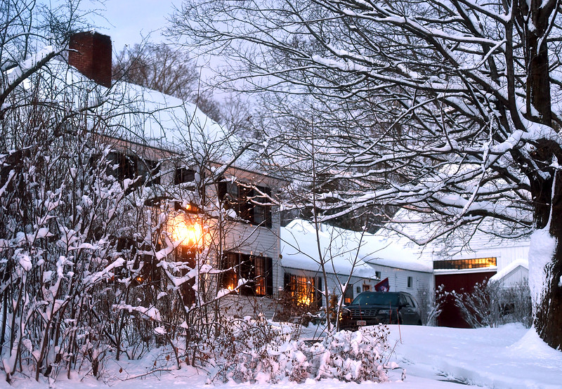 Snow covered farm house on Rt 113 in Dunstable. NVV/ David H. Brow