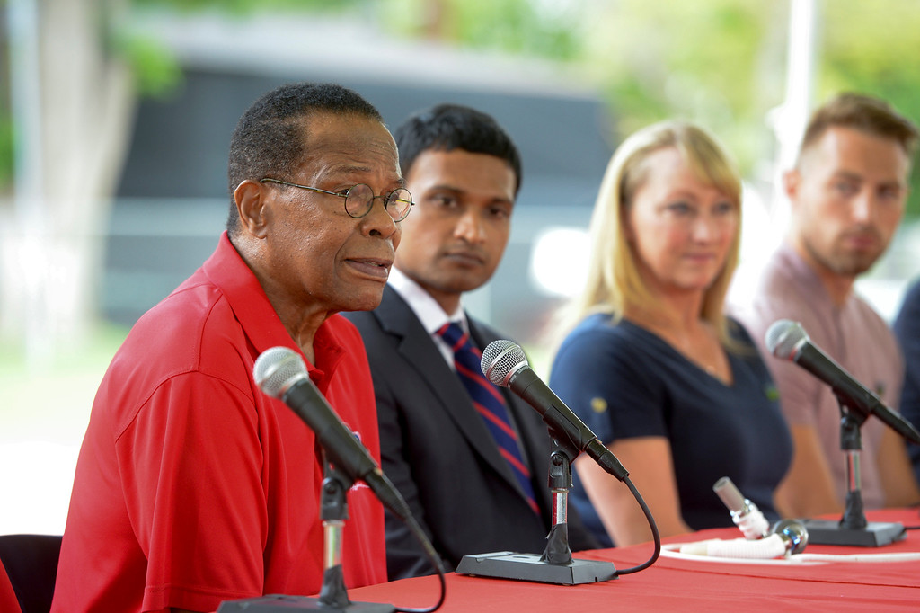 . Baseball hall of fame legend Rod Carew, speaks at a press conference for the American Heart Association.  Mr. Carew was given Konrad Reuland\'s heart after he suffered a brain aneurysm in December of 2016.  Next to Carew are his doctor, Ajay Srivastava, MD, Mary Reuland and Austin Reuland. ( Photo by David Crane, Los Angeles Daily News/SCNG)