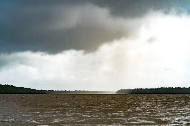 Een regenbui is in aantocht