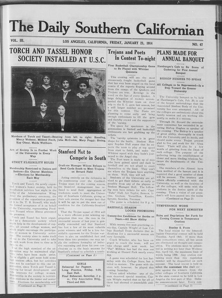 The Daily Southern Californian, Vol. 3, No. 67, January 23, 1914