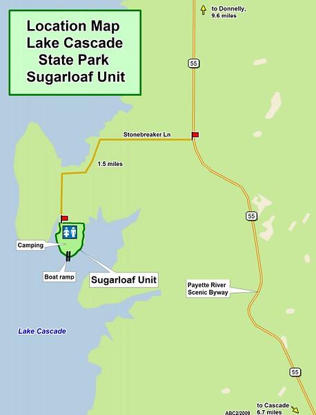 Lake Cascade State Park (Sugarloaf Unit Location Map)