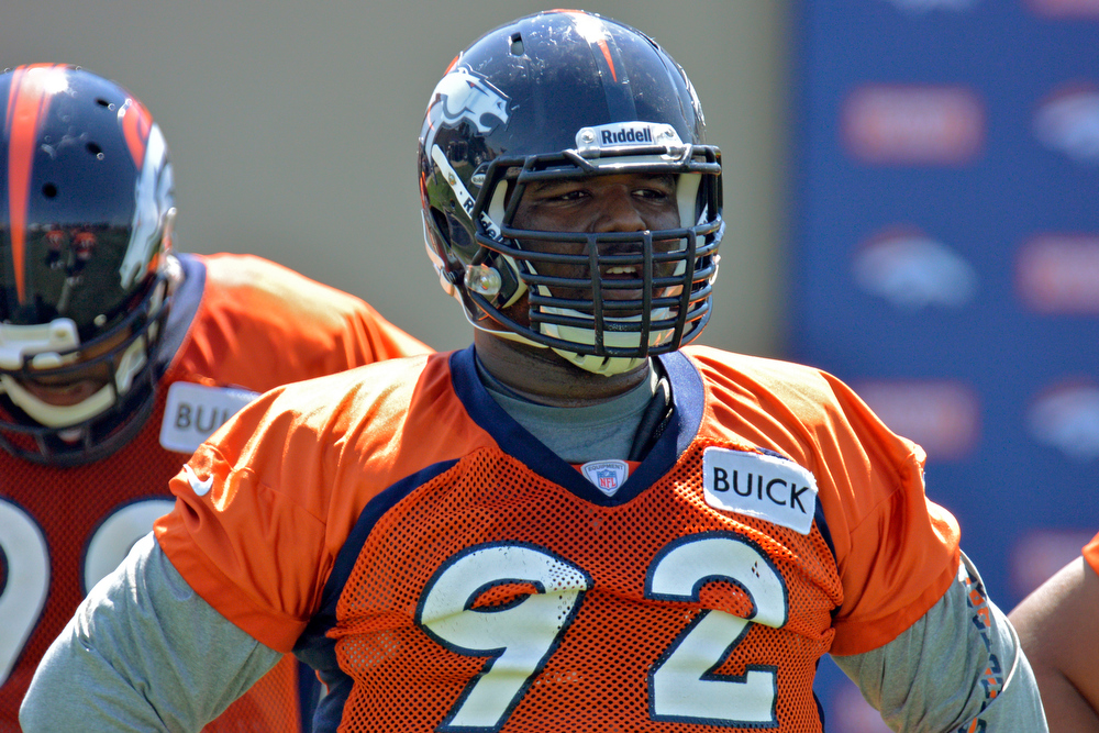 . Denver Broncos DT Sylvester Williams (92) looks on during drills during training camp July 26, 2013 at Dove Valley. (Photo By John Leyba/The Denver Post)