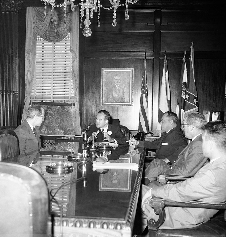 . Byron Whizzer White, left, a top assistant to Atty. Gen. Robert Kennedy, not shown, meets with Gov. John Patterson of Alabama to discuss racial difficulties, May 21, 1961, Montgomery, Ala. (AP Photo/Horace Cort)