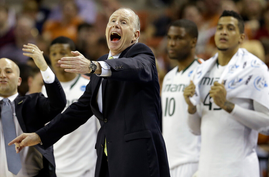 . Miami head coach Jim Larranaga reacts during the first half of a second-round game of the NCAA college basketball tournament against the Pacific Friday, March 22, 2013, in Austin, Texas.  (AP Photo/David J. Phillip)