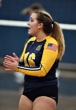 11/16/2019 Mike Orazzi | StaffrWoodstock Academy's Paige Audet (16)during the 2019 State Girls Volleyball Tournament Class L Quarterfinals at BEHS in Bristol Saturday.