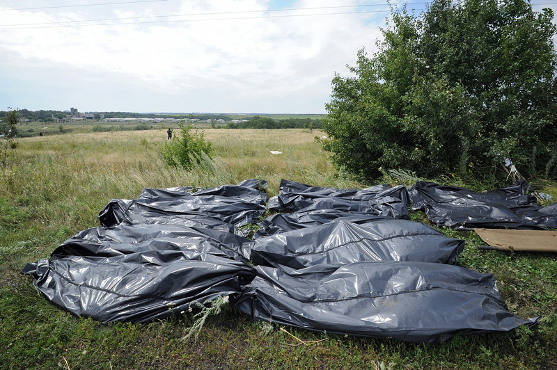 . Bodies of victims wrapped in bags wait to be collected at the site of the crash of a Malaysia Airlines plane carrying 298 people from Amsterdam to Kuala Lumpur in Grabove, in rebel-held east Ukraine, on July 19, 2014. Ukraine and pro-Russian insurgents agreed on July 19 to set up a security zone around the crash site of a Malaysian jet whose downing in the rebel-held east has drawn global condemnation of the Kremlin. Outraged world leaders have demanded Russia\'s immediate cooperation in a prompt and independent probe into the shooting down on July 17 of flight MH17 with 298 people on board. AFP PHOTO / DOMINIQUE FAGETDOMINIQUE FAGET/AFP/Getty Images