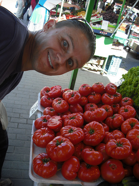 We visited a local market.  They eat tomatoes in Latvia just like we do.