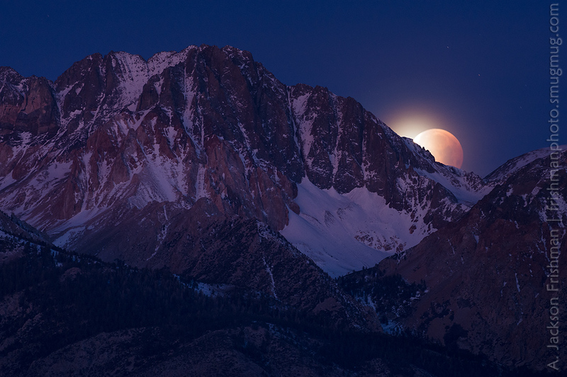 January 31st, 2018: Moonset in eclipse behind 14,065' Split Mountain in the Sierra Nevada.