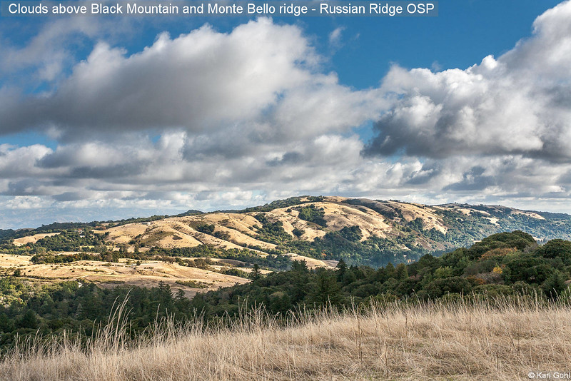 Clouds above Black Mountain and Monte Bello ridge