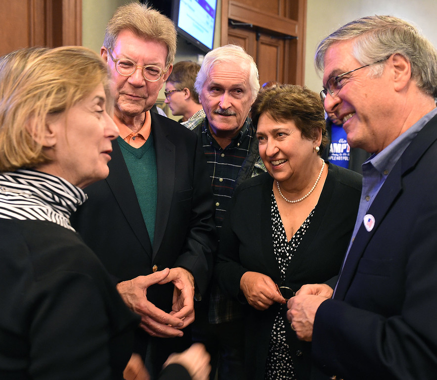 . Andrian a Armstrong, left, Tom Seifert, Tim Brick, Dianne Philibosian with mayoral candidate Terry Tornek at Pasadena City Hall on election night Tuesday, April 21, 2015. (Photo by Walt Mancini/Pasadena Star-News)