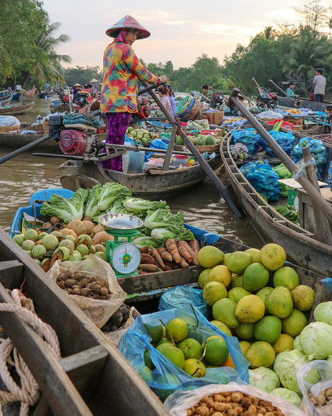 The floating market in Can Tho