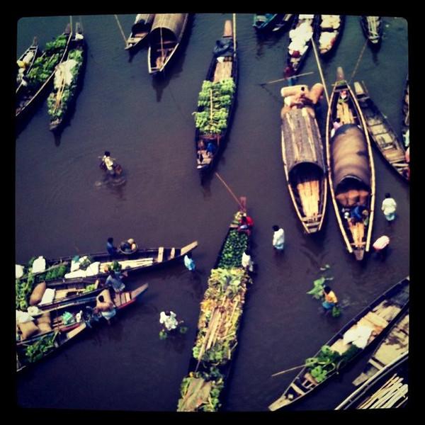 Market day in Bandarban, Bangladesh - boats trading on river